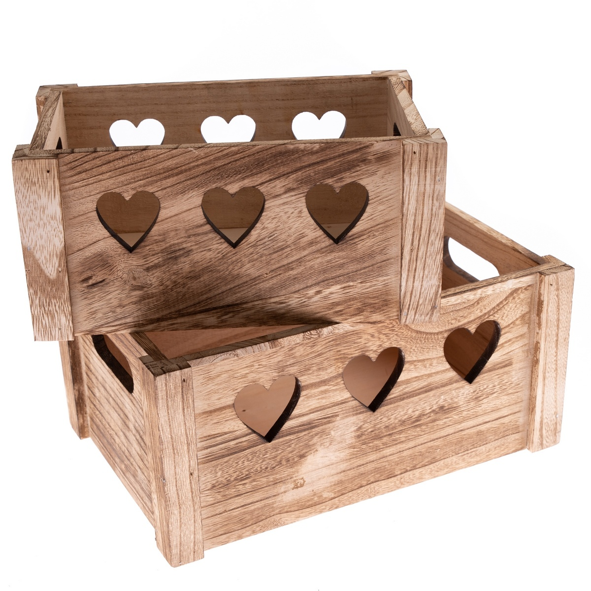 Sada dekoračních dřevěných bedýnek Hearts 2 ks, přírodní
