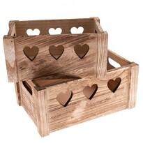 Sada dekoračných drevených debničiek Hearts 2 ks, prírodná