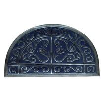 Wycieraczka gumowa, półokrągła, niebieski, 50 x 80 cm