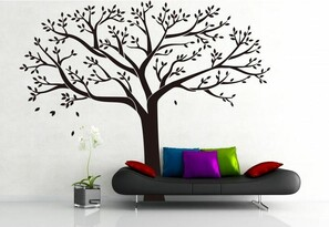 Öntapadós falmatrica XXL, családfa, fekete