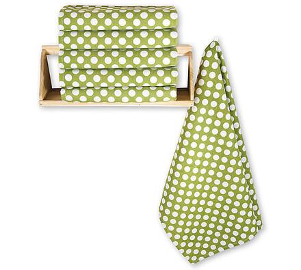 Bavlněné utěrky Puntík, sada 6 ks zelená, 50 x 70 cm