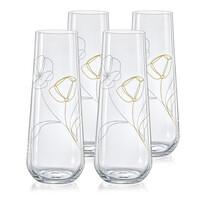 Crystalex Set 4 pahare pentru prosecco Stemless 250 ml, flori de câmp