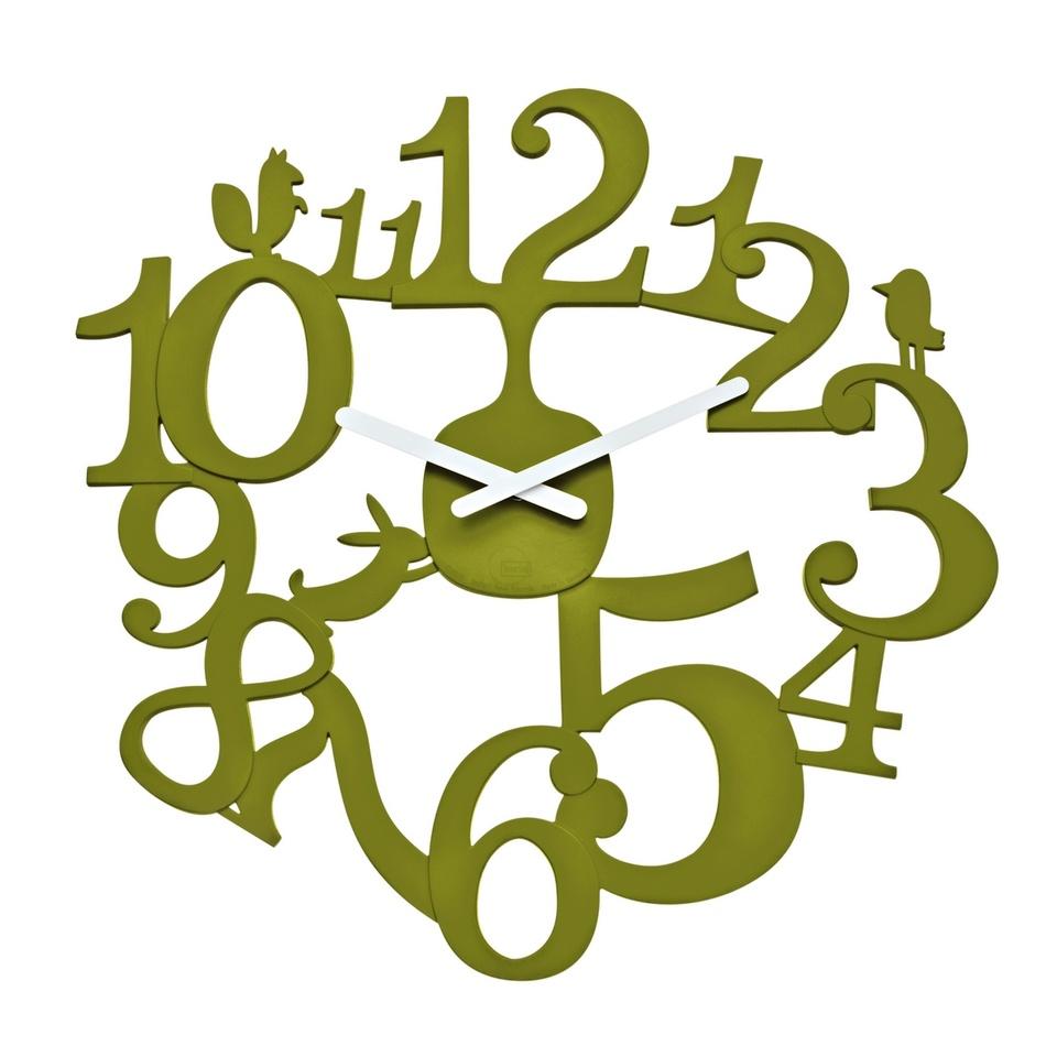 Koziol Nástěnné hodiny PI:P olivová, pr. 45 cm