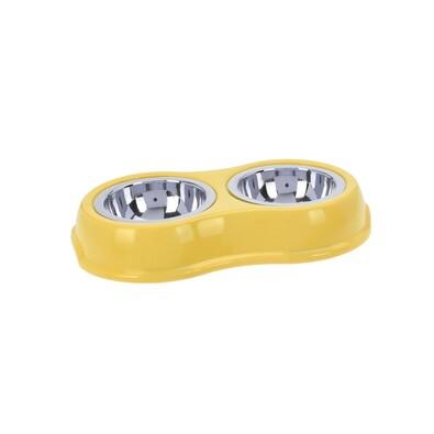 Podwójna miska dla zwierząt, żółty