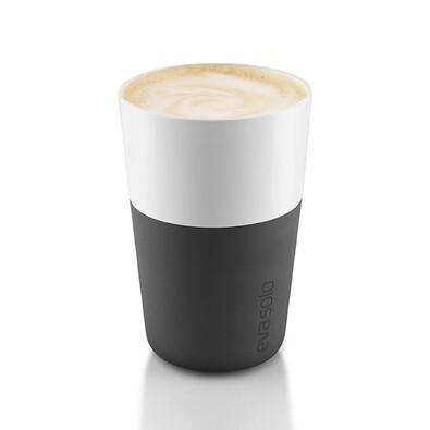 Hrnek na café latte 360 ml černý, sada 2 ks