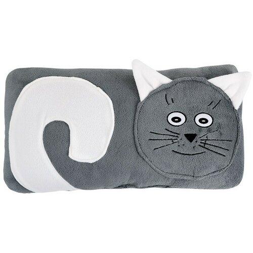 Bellatex Tvarovaný polštářek Kočička šedá, 45 x 30 cm