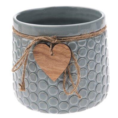 Keramický obal na květináč Heart, šedá, 14 x 12,5 x 11,5 cm