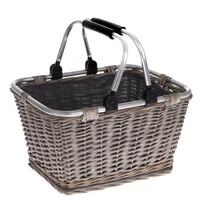 Koszyk pleciony z uchami metalowymi Lingen, 39 x 30 x 24 cm