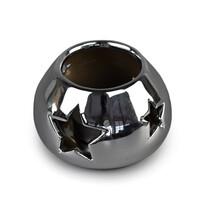 Ceramiczny świecznik, srebrny
