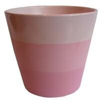 Osłonka ceramiczna na doniczkę Stripes różowa, śr. 13,5 cm