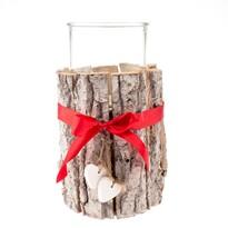 Dřevěný svícen se sklem, 12 x 18 cm