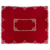 Vánoční vyšívaný ubrus Hvězdy červená, 120 x 140 cm