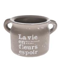 Recipient ceramic de ghiveci La vie, maro, 18,5 cm