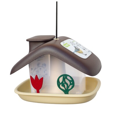 Plastia Karmnik dla ptaków Domek, brązowy