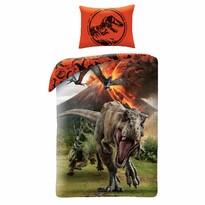 Lenjerie de pat din bumbac pentru copii Jurassic Park, portocalie, 140 x 200 cm, 70 x 90 cm