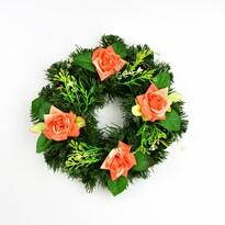 Mindenszentek koszorú naran, 25 cmcsszínű rózsákkal