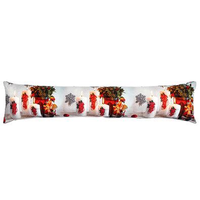 Vianočný ozdobný tesniaci LED vankúš do okien Sviečky červená, 85 x 18 cm