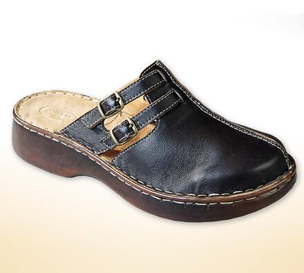 Dámské pantofle s plnou špičkou, černá, 40