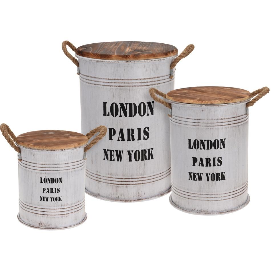 Sada dekorativních zinkových dóz Big Cities, 3 ks