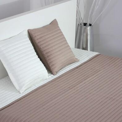 Přehoz na postel Mondo světle hnědá a krémová, 220 x 240 cm