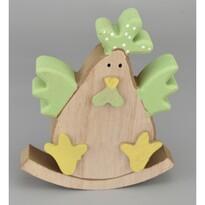 Veľkonočn drevená sliepočka Evelína zelená, 15 cm