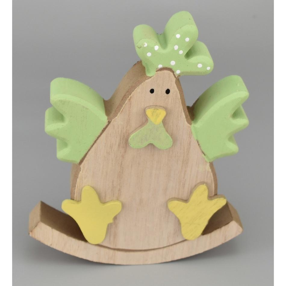 Velikonoční dřevěná slepička Evelína zelená, 15 cm
