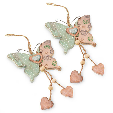 Dřevěný závěsný motýlek, sada 2 ks