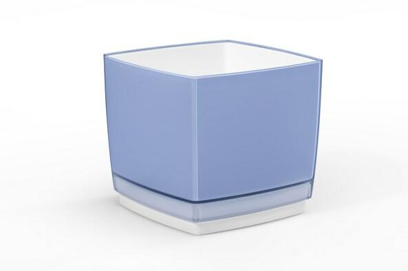 Doniczka osłonka plastikowa Cube 200, niebieska