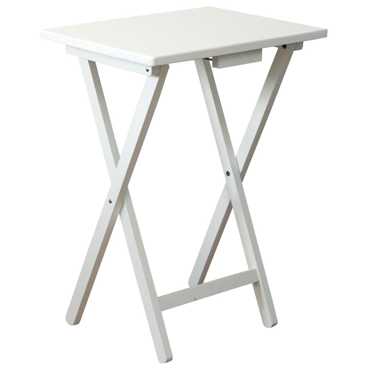 Skladací stolík drevený, biela