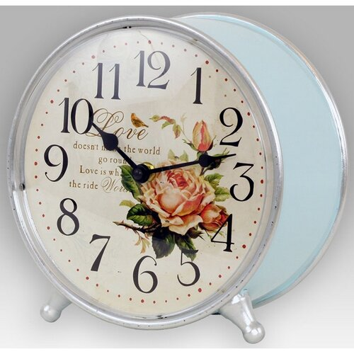 Stolní hodiny Romantic rose, pr. 21 cm