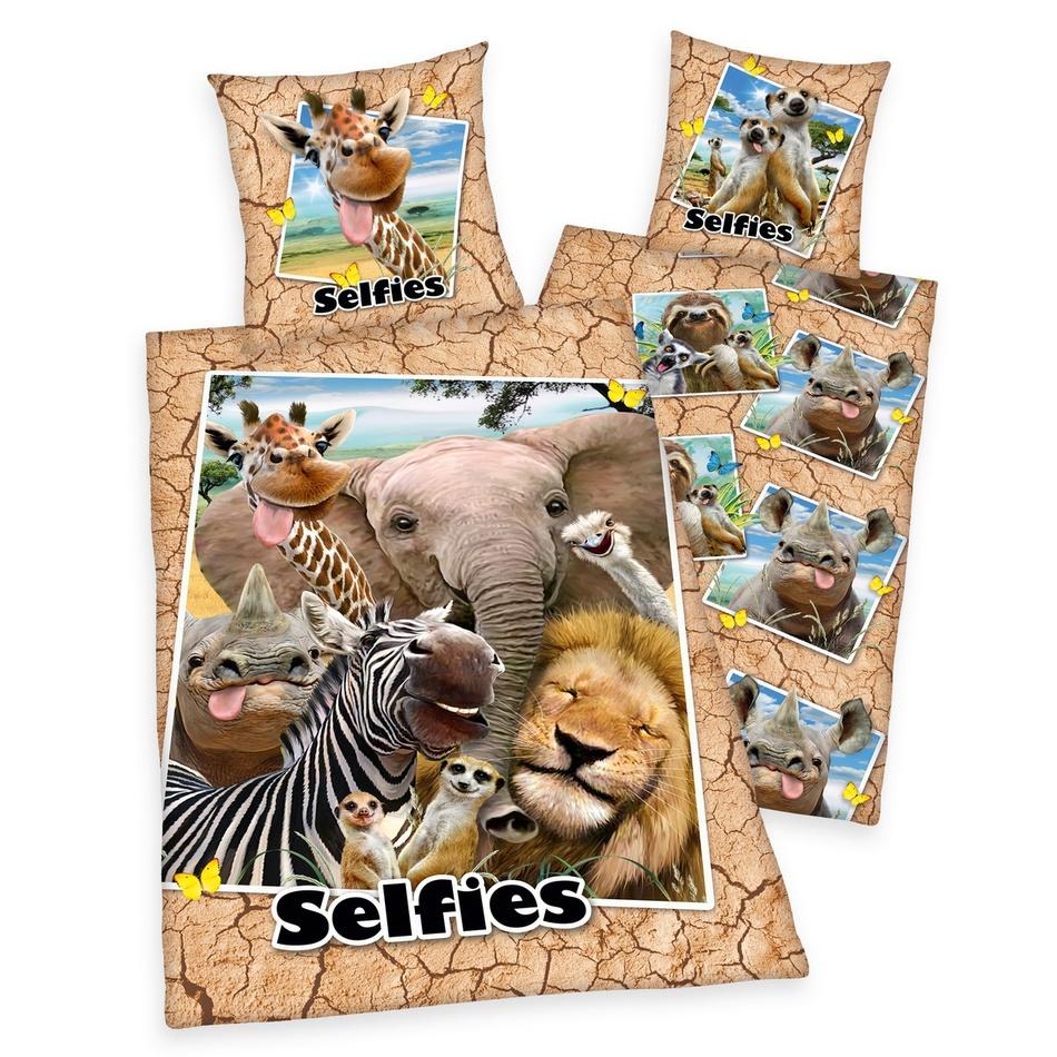 Herding Bavlnené obliečky Zoo Selfie, 140 x 200 cm, 70 x 90 cm