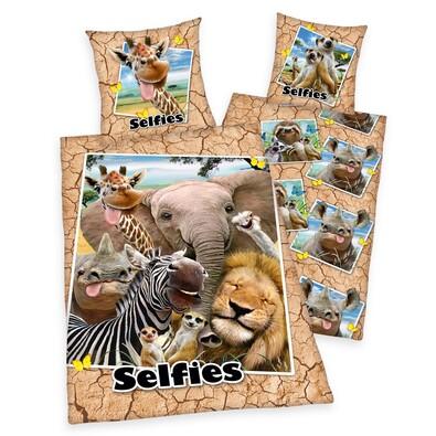 Zoo Selfie pamut ágynemű, 140 x 200 cm, 70 x 90 cm