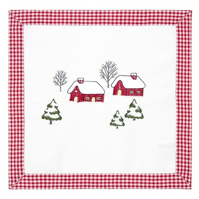 Házikók karácsonyi abrosz, 35 x 35 cm