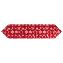 """Bieżnik świąteczny """"Płatki śniegu"""" czerwony, 32 x 140 cm"""
