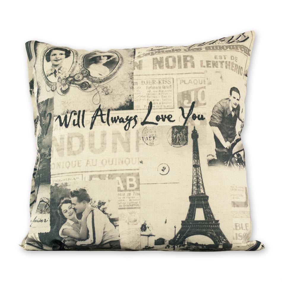 Jahu Povlak na polštářek Gold Paris love, 45 x 45 cm