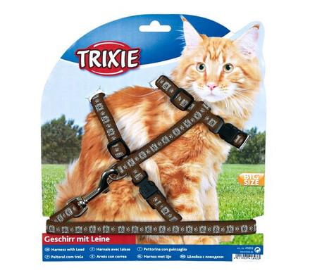 Postroj s vodítkem pro kočku XL, hnědá, 34 - 57 x 1,3 x 120 cm