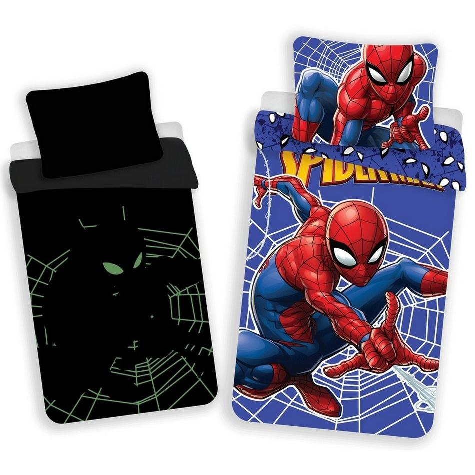 Jerry Fabrics Dětské bavlněné svíticí povlečení Spiderman, 140 x 200 cm, 70 x 90 cm