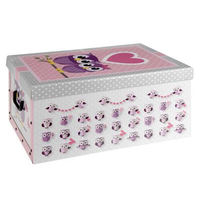 Úložný box Sovičky, růžová