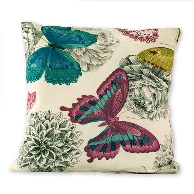 Povlak na polštářek Klasic motýl růžová, 45 x 45 cm