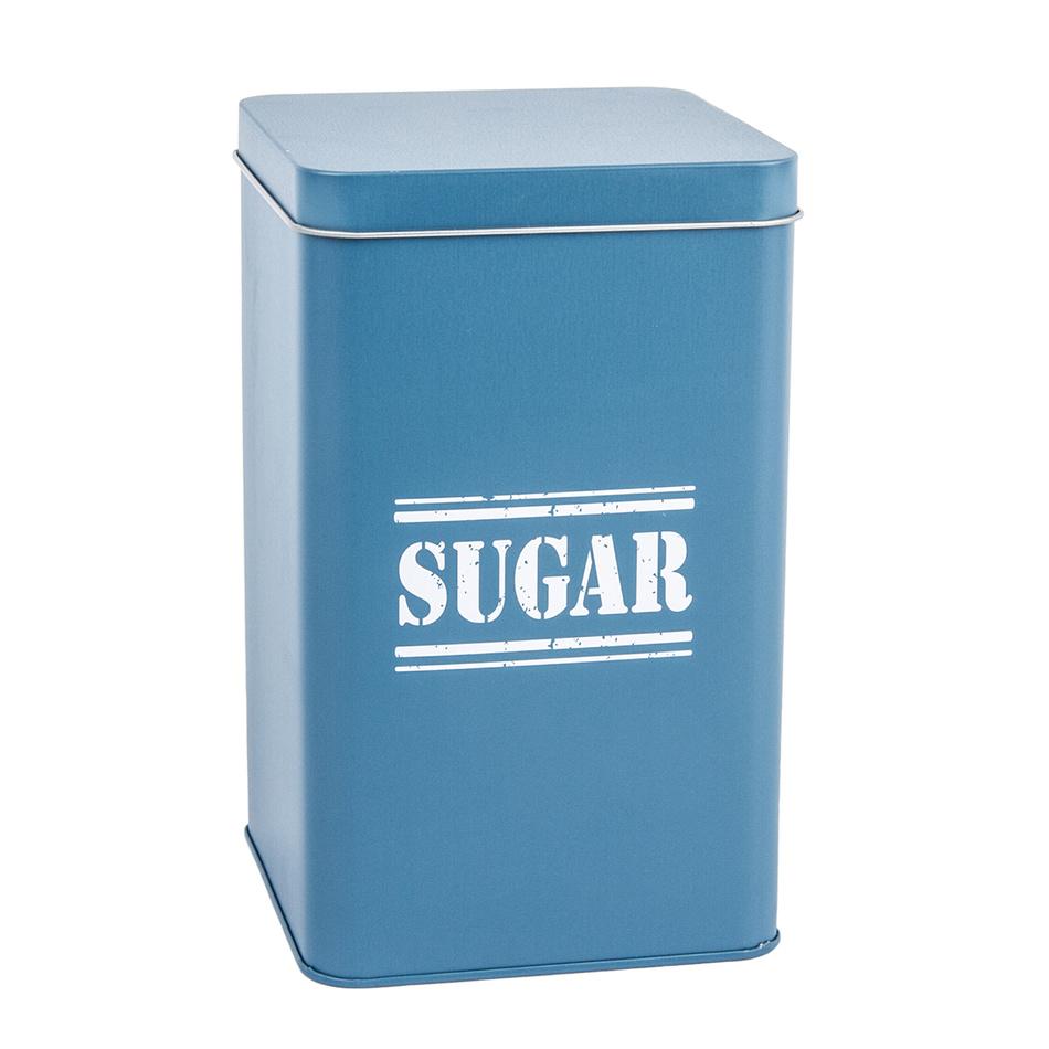 Plechová dóza Sugar, tm. modrá