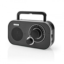 Nedis Přenosný radiopřijímač FM 1.5 W, stříbrná/černá