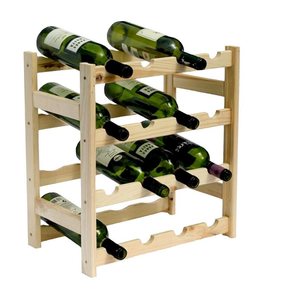 Drevený regál na 16 fliaš