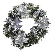 Vianočný veniec s poinsettiou pr. 25 cm strieborná