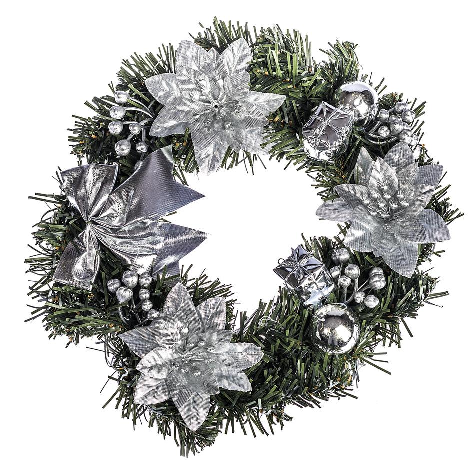 HTH Zdobený vánoční věnec pr. 25 cm stříbrná