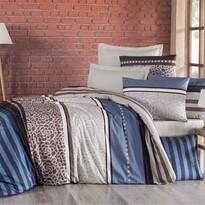 Lenjerie de pat, din bumbac, Delux Stripe, albastru, 240 x 200 cm, 2 buc. 70 x 90 cm
