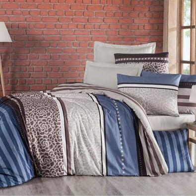 Lenjerie de pat, din bumbac, Delux Stripe, albastru, 200 x 200 cm, 2 buc. 70 x 90 cm