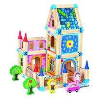 Joc modular din lemn Mertens Castel, 128 piese