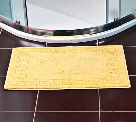 Žakárová koupelnová předložka, žlutá