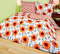 Povlečení Gerbery 2+2, bílá + oranžová, 140 x 200 cm, 70 x 90 cm