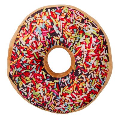 Tvarovaný polštářek Donut barevná posypka, 38 cm